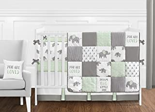 Sweet Jojo Designs Mint, Grey and White Watercolor Elephant Safari Baby Unisex Crib Bedding Set with Bumper - 9 Pieces