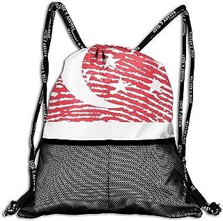 Fashion Drawstring Bag-Singapore Flag Fingerprint Country Print Gym Backpack Sport Storage Bag Bundle Backpack for Adult Kids
