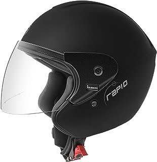 Gliders Rapid Open Face Helmet (Matte Black, Clear Visor, 600mm)