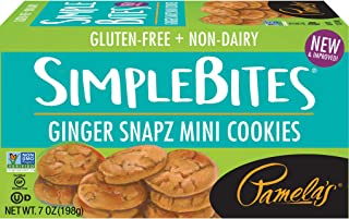 Pamela's Products Gluten Free Simplebites Mini Cookies, Ginger Snapz, 7 Ounce (Pack of 6)