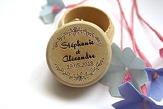 Scatola porta fedi matrimonio, scatola personalizzata con nomi e data del matrimonio, stile floreale. Decorazione corona d...