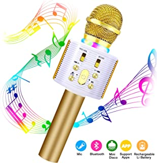 Karaoke Microphone for Kids,FISHOAKY 4 in 1 Handheld Wireless Bluetooth Microphone Speaker Music Singing Voice Recording Karaoke Machine with Android/iOS for Home KTV Player Outdoor