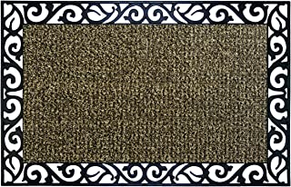 GrassWorx Clean Machine Wrought Iron Stems and Leaves Doormat, 18