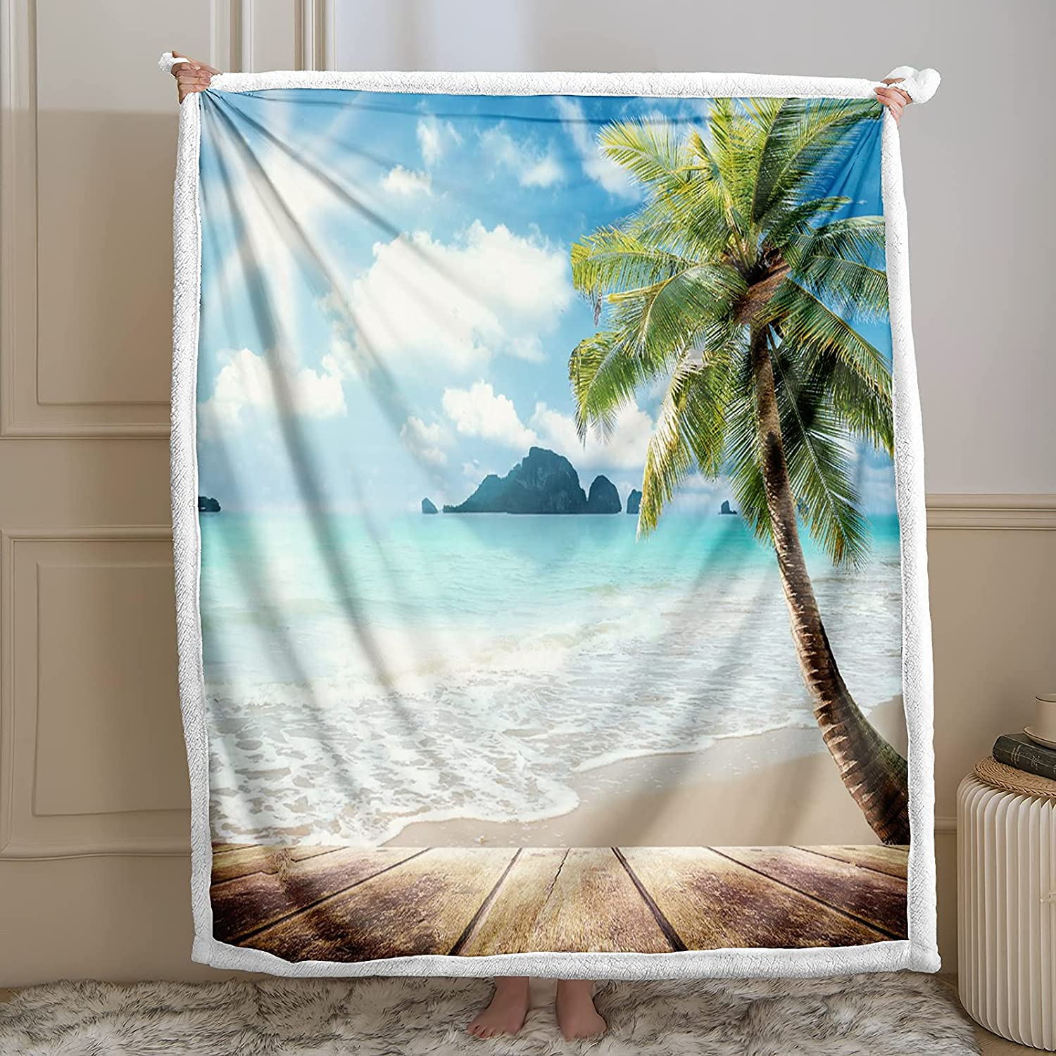 Bedbay Sunny Beach Japan's largest assortment Blanket Time sale Tropical Tree Palm Throw Sherpa Blank
