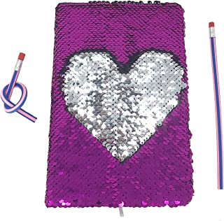 Reversible Magic Sequin Journal Notebook Diary - Color Changing Flip Sequins with Heart- Lined A5 Paper - Perfect Gift for Creative Girls and Teens With 2 Pcs Magic Soft Pencils(Rose Red/Silver)