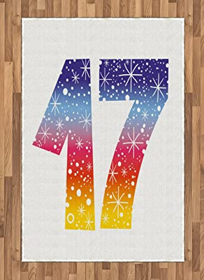 Polyester Shower Curtain 17th Birthday Decorations Rainbow Colored Seventeen Party With Fireworks Polka Dots Print Multicolor Without Return Bathroom Products