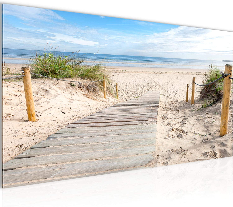Amazon.de Wandbilder Strand Meer Landschaft Modern Vlies Leinwand ...