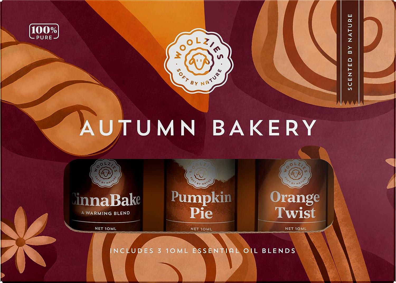 Woolzies Autumn Bakery Fall Essential Oil Set of 3 | Includes Pumpkin Pie, Cinnabake & Orange Twist | 10ML