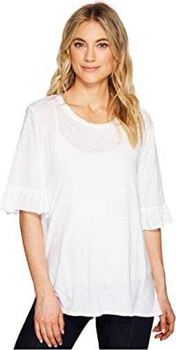 Michael Stars - Cotton Supima® Crew Neck with Ruffle Sleeve