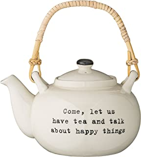 Bloomingville Stoneware Pot, Come, Let Us Have Tea and Talk About Happy Things with Bamboo Handle, 32 Ounce, Cream