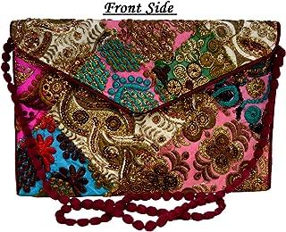 Eco-friendly Zari and Thread Embroidered Patchwork Bag Stylish Clutch Purse