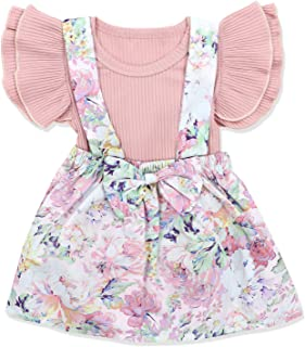 Newborn Baby Girls Clothes Floral Sleeve Romper+ Floral Short Pant 2pcs Summer Outfit