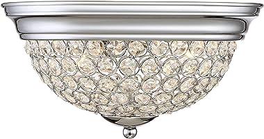 Faith Modern Ceiling Light Flush Mount Fixtures Set of 2 Bowl Chrome Crystal Accents for Bedroom Kitchen Living Room Hallway Bathroom - Possini Euro Design