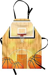 Lunarable Sports Apron, Vivid Basketball Court Balls and Hoop Madness Rim Court Parquet Hardwood, Unisex Kitchen Bib with Adjustable Neck for Cooking Gardening, Adult Size, Orange White