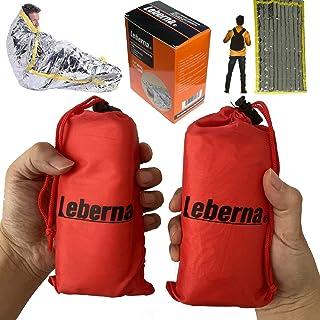 "Leberna Thermal Emergency Sleeping Bag Mylar Survival Gear Foil Bivy Sack Shelter Supply | 3 x 7 FT 36""x84"" Double Sided, ..."