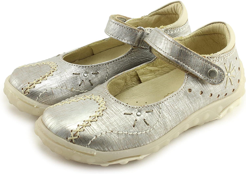Primigi Girls Mary Jane Leather Shoes with Arch, Ankle, and Orthopedic Support (63126/77 Kaja V. Lamin. Fraff.Argento)