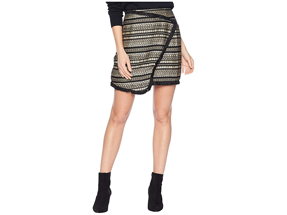 MOON RIVER Tweed Skirt (Black/Gold) Women