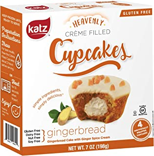 Katz Gluten Free Gingerbread Crème Filled Cupcakes   Dairy Free, Nut Free, Soy Free, Gluten Free   Kosher (1 Pack of 4 Crème Cupcakes, 7 Ounce)