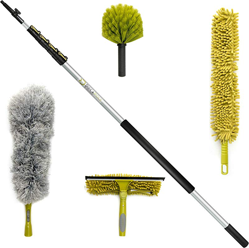 DocaPole Cleaning Kit With 24 Foot Extension Pole Includes 3 Dusting Attachments 1 Window Squeegee Washer Cobweb Duster Microfiber Feather Duster Ceiling Fan Duster Cleaner