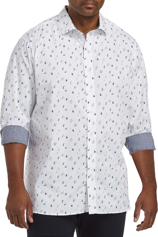 DXL Twenty-Eight Degrees Big and Tall Skier Print Sport Shirt, White