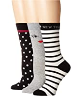 Kate Spade New York - Wink Face 3-Pack Trouser Socks
