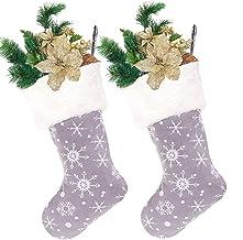"18"" Grey Sneeuwvlok Kous van Kerstmis, Xmas Opknoping Stocking met Bont for Gift Holder Mantel Decoration Party zcaqtajro..."