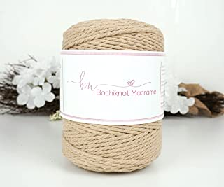 Bochiknot Macrame | 3-ply Twist Cotton Cord 4mm x 650 ft | Recycled Colored Twisted Rope for Art& Crafts, Knotting Materia...