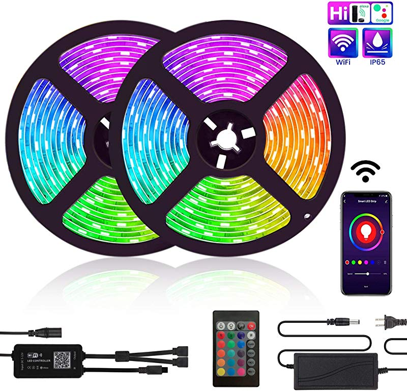 LED Strip Lights TATUFY WiFi 32 8ft 10M 300LEDs Color Changing Rope Lights 5050 RGB Light Strips With Alexa Google APP Controller Waterproof Tape Lights Sync With Music Apply For Home Kitchen