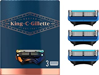 King C. Gillette Men's Refill Shave and Edging Razor Blades, Pack of 3 Refills, with Built In Single Blade Precision Trimmer