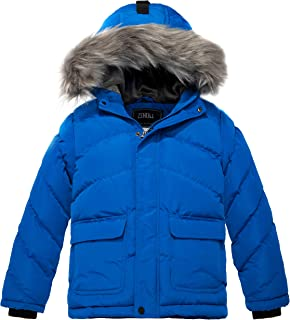 Boy's Hooded Puffer Jacket Thick Padded Winter Coat Windproof Parka