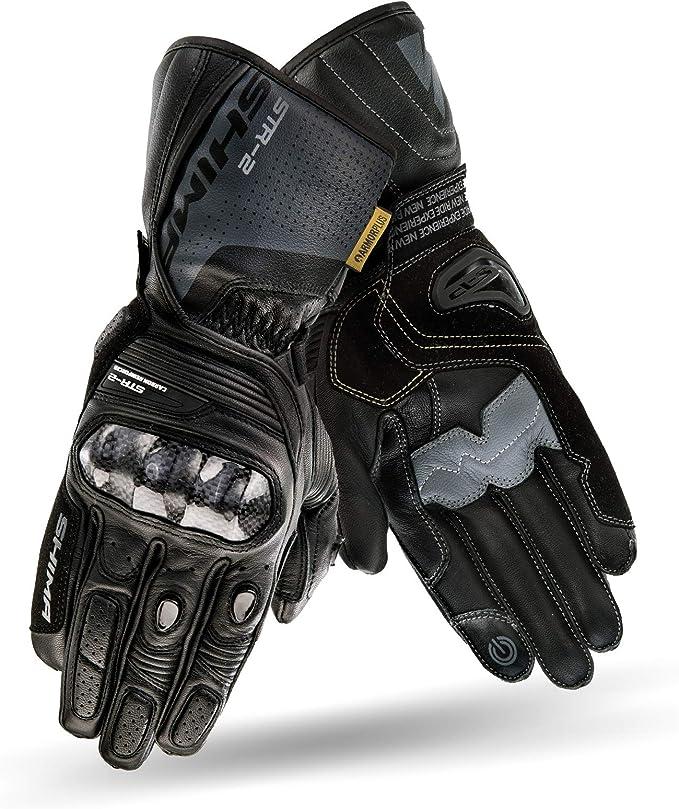 Negro, M Guantes de motocicleta para hombres de cuero blindado con pantalla t/áctil larga SHIMA STR-2 GLOVES BLACK