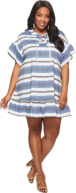 Lucky Brand - Plus Size Lace-Up Mini Dress
