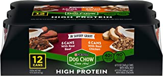 Purina Dog Chow High Protein Gravy Wet Dog Food, High Protein with Real Chicken & Real Beef Variety Pack - (12) 13 oz. Cans