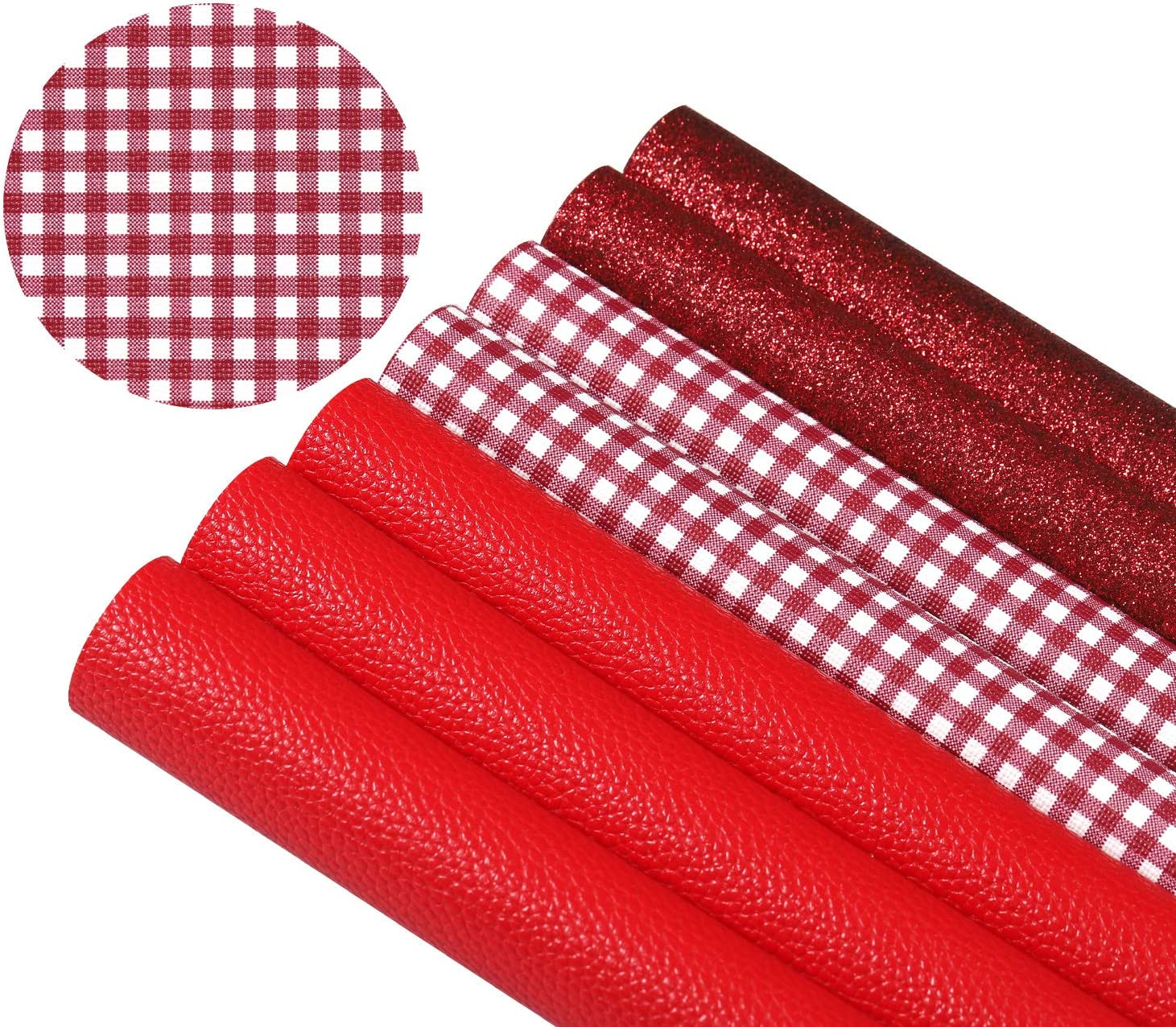 Picheng 7Pcs Red Faux Leather Sheets Plaid S Fabric Ranking TOP15 Sale