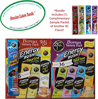 4C Energy Rush Totally Light-Tea-2-Go 2-Box Sampler Bundle (Includes 36 Packets Consisting of 7 Flavors + (1) Complimentary Sample Packet of Another 4C Favorite)