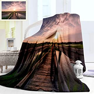 """Nalagoo Plush Soft Warm Microfiber Solid Blankets, Boardwalk Over Lovely A Salt Marsh Plush at Sunset Cozy Flannel Blanket Perfect for Sofa or Travelling, Queen/Full Size 90"""" x 70"""""""