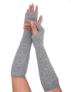 State Cashmere Women's 100% Cashmere Knit Long Fingerless Arm Warmers Mitten Gloves 13""