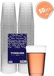 Clear Disposable Plastic Cups 10 Oz. Pack Of (50) Fancy Hard Plastic Cups - Party Accessories - Wedding - Cocktails- Tumblers