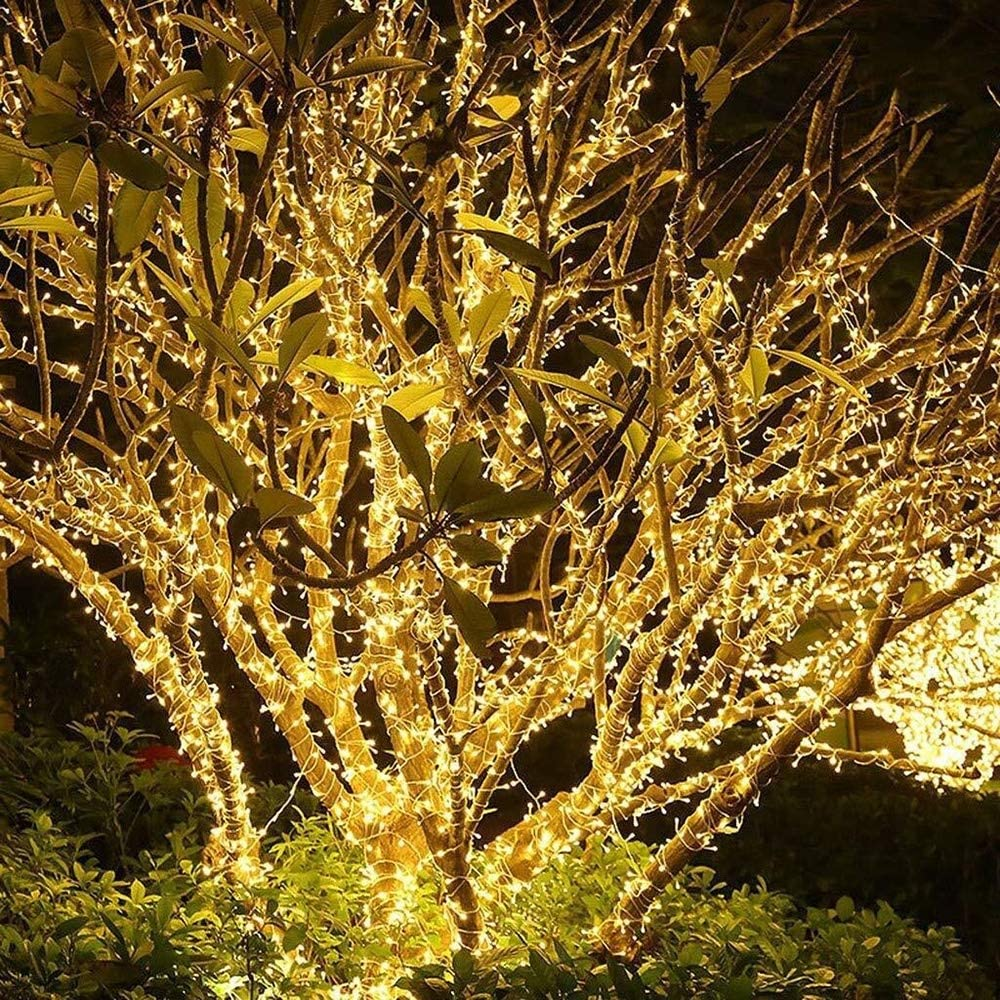 LIFEIYAN Lichterketten, 100M 1000 LED-Schnur-Licht Mit 8 Lichteffekten Multi Farben Funktionen, For Die Innen- Und Außen Weihnachtsbaum Feier Dekoration Girlande Lichter Warm White-50m*500leds