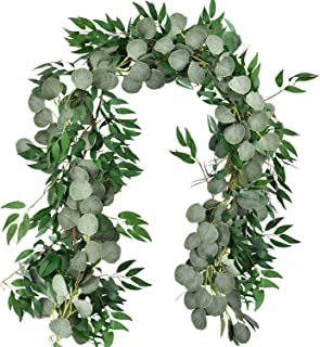Shiny Flower 5.9' Long Faux Silver Dollar Eucalyptus Vine Garland and 5.7' Artificial Willow Vines Twigs Leaves Garland, Faux Silk Greenery Garland for Wedding Arrangement Holiday Party Home Decor