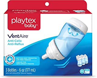 Playtex Baby Ventaire Anti Colic Baby Bottle, BPA Free, Blue, 6 Ounce - 3 Pack