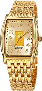 August Steiner AS8226 Certified Gold Ingot Bar Men's Bracelet Watch - Stainless Steel Chain Link Band, Rectangle Barrel Tonneau Case, Quartz Movement