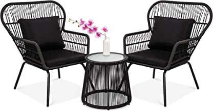 Best Choice Products 3-Piece Patio Wicker Conversation Bistro Set w/ 2 Chairs, Glass Top Side Table, Cushions - Black