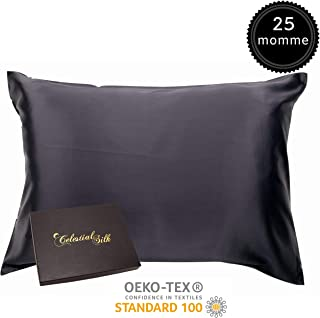 100% Silk Pillowcase for Hair Zippered Luxury 25 Momme Mulberry Silk King Black