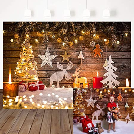 7x5ft Christmas Tree Backdrop White Wall Wood Floor Photography Backdrop Candle Wooden Horse Photo Background for Party Booth Prop Seamless Background
