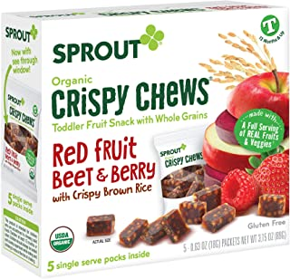 Sprout Organic Baby Food Toddler Snacks Crispy Chews, Red Fruit Beet & Berry, 5 Count Box of 0.63 Ounce Single Serve Packe...