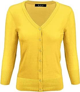 YEMAK Women's 3/4 Sleeve V-Neck Button-Down Knit Cardigan Sweater (S-3X)