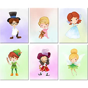 ART PRINT ON DICTIONARY BOOK PAGE Peter Pan Picture Fairy Star VINTAGE Children