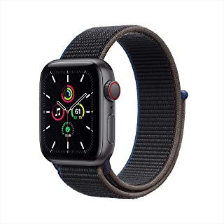 Apple Watch SE (GPS + Cellular, 1.575 in) - Carcasa de aluminio gris espacial con bucle deportivo de carbón