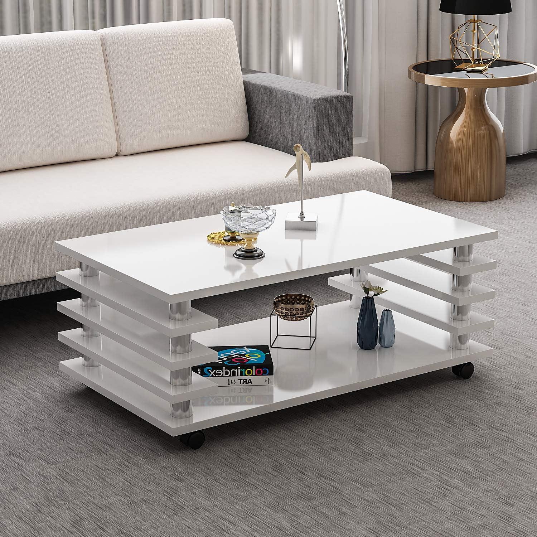 Couchtisch Zoe Wei Hochglanz mit Rollen 115 x 65 cm Tisch Wohnzimmertisch Sofatisch